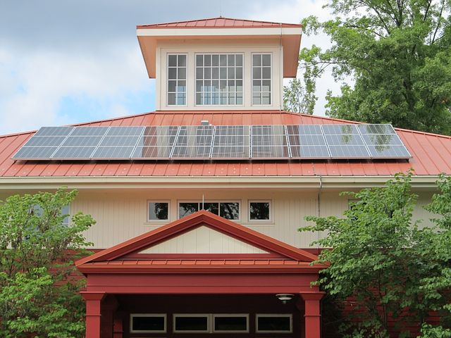 Home with solar panels in the roof