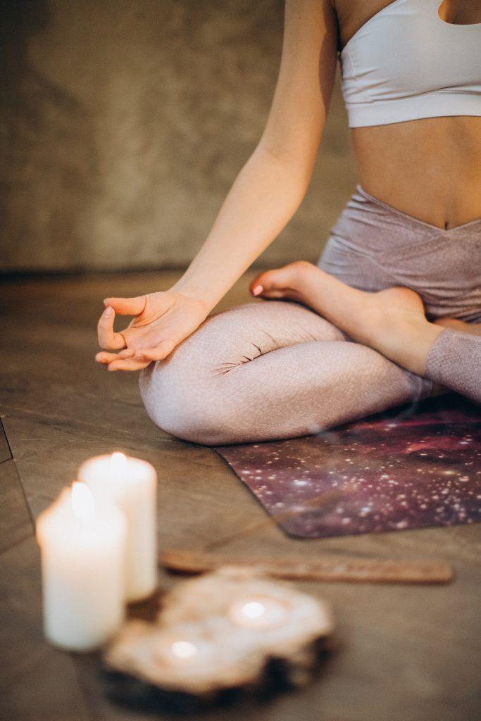 Woman while meditating