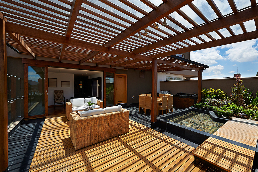 Beautiful terrace lounge made from bamboo products